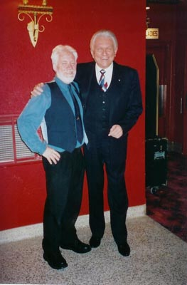 Tommy posing with Ray Marshal, manager of the Academy Theatre.