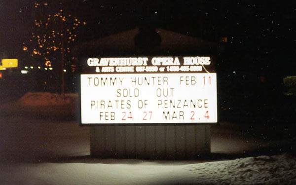 A sold out sign for a show at the Gravenhurst Opera House.