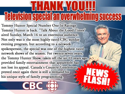 Promo material for the Tommy Hunter show special. Read caption for full text.