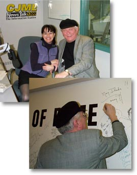 Collage. 1: Tommy hunter sitting with Susan Einarsson at the CJME radio Studio. 2: Tommy hunter signing his name on the wall of the studio.