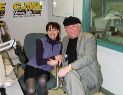 Tommy & Susan Einarsson posing at Regina's CJME Radio Studio